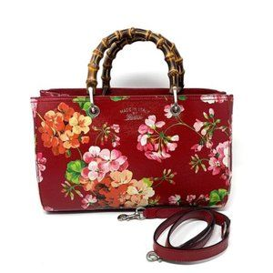 Gucci Red Bloom Leather Medium Bamboo Handle Bag